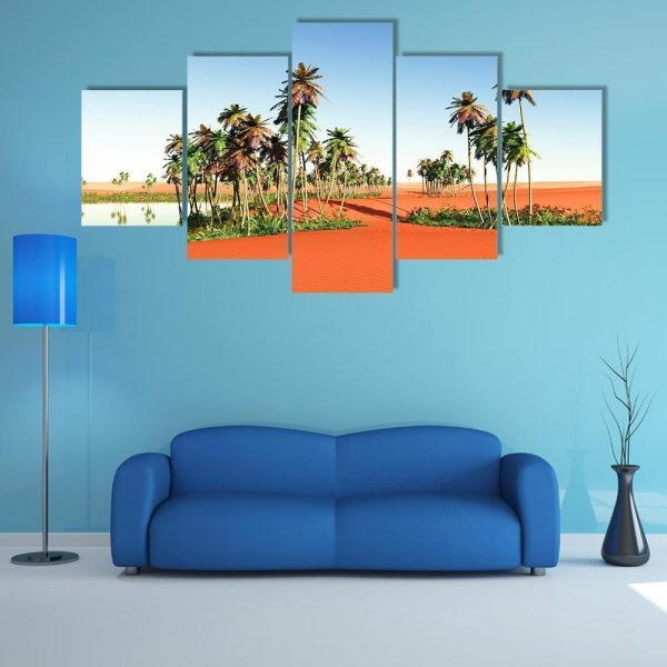 Scenic View Of African Oasis Nature Canvas Wall Art Canvas In House