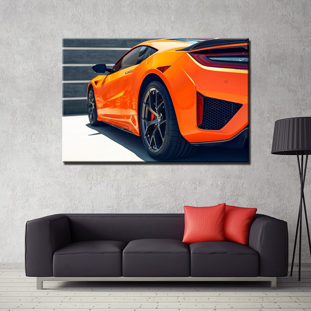 Acura NSX Supercar Orange Car 1 Piece Canvas Wall Art
