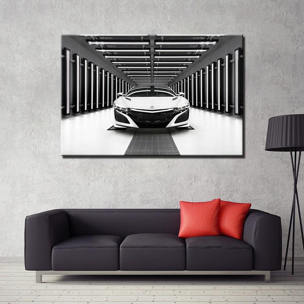 Acura NSX Supercar White Car 1 Piece Canvas Wall Art